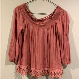 Rue 21-Lace trimmed off the shoulder top